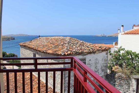 Sigri - Lesbos, Evangelia Studios, Blick vom Balkon
