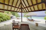 Malediven -ROBINSON Club Maldives, Strandbungalow Meerblick, Aussicht