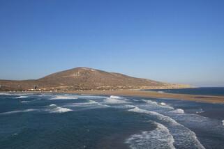 Rhodos Prasonisi - Links Wave Spot, Rechts Flachwasser