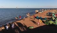 El Gouna, Kite-People, Blick von der Station zum Strand