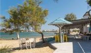 Naxos - Flisvos Beach Cafe, Blick zum Meer