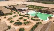Dakhla - Westpoint Hotel, Luftaufnahme Poolbereich und Hauptrestaurant