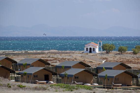 Limnos - Surfcamp Keros, Blick auf Zeltcamp